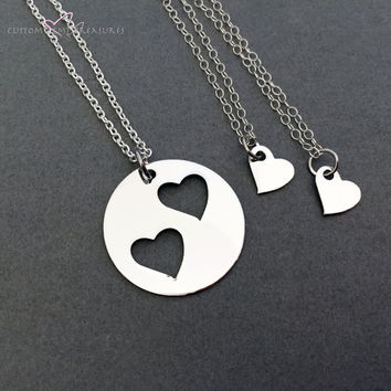 3 Mother Child Necklaces, Double Open Heart Necklace, Heart Charm Necklaces , Anniversary Gift
