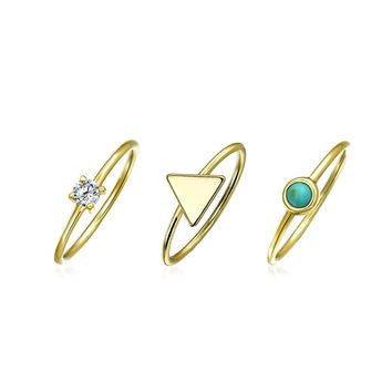 Turquoise CZ 14K Gold Plate Sterling Silver Midi Knuckle Ring Set 1MM