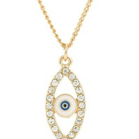 Encounter Gold Plated Hollow Evil Eye Blue Clear Rhinestone Deco Pendant Necklace Cable Chain