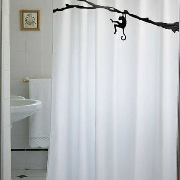 Monkey Shower Curtain Kids Chimpanzee Chimp Tree Branch Hanging Cheeky