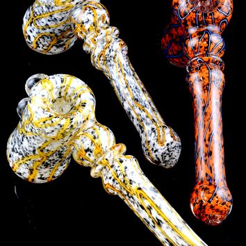 Large Frit Glass Hammer Bubbler - B966
