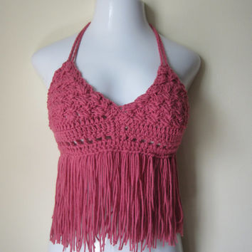 Fringe halter top,halter top, Country rose, festival, bikini top, gypsy, boho bohemian, summer top, 70's top