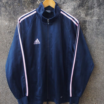 SALE 20% Vintage ADIDAS Trainer Jacket Women Medium Vintage 1980's Adidas Big Logo 3 Stripes Pink Sweater Black Jacket Windbreaker Size M