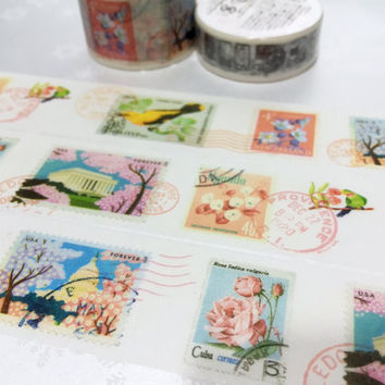 pretty birds postage stamp washi tape 10M x 3cm flower postage stamp pink tree flower postage stamp sticker postcard stamp decor gift