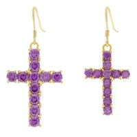 The Hanging Cross Earrings (Purple)