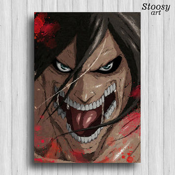 Attack on Titan decor print titan poster anime watercoloor manga art