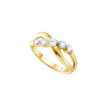 14kt Yellow Gold Womens Round Diamond 5-stone Crossover Infinity Band Ring 1/2 Cttw