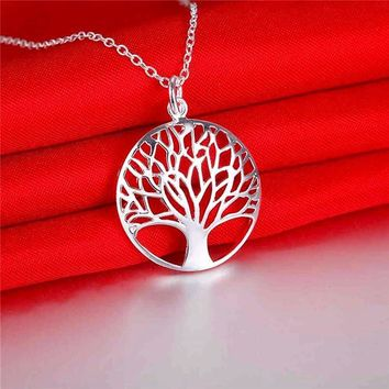Tree of Life Silver Medallion Necklace