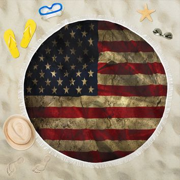 Aged American Flag Round Beach Towel Blanket