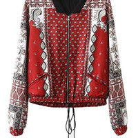 Multicolor Paisley Print Zippered Bomber Jacket