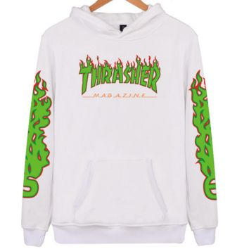 """Thrasher"" flame pattern loose hooded  sweater long-sleeved skateboard white"