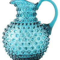 Stunning Hobnail Turquoise Glass  Bohemian Glass Pitcher 9""