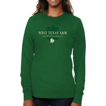 West Texas A&M Buffaloes Ladies St. Paddy's Long Sleeve Slim Fit T-Shirt - Green
