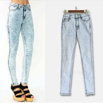Acid Wash Skinny Jeans women Plus Size high waist elastic slim skinny trousers for women womans Spring summer