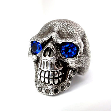 Men's Sandman Silver Skull Ring With Black Diamonds & Sapphires Limited Edition