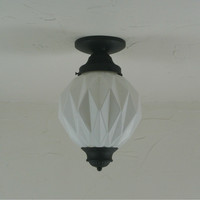 Geometric Frosted White Flush Mount Light