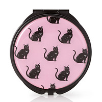 FOREVER 21 Cat Print Mirror Compact Pink/Black One