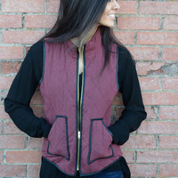 Slay In Suede Vest- Burgundy