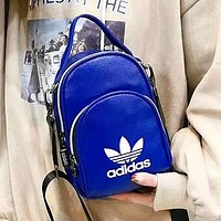 Adidas New fashion letter print leather backpack bag women Blue
