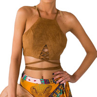 Vintage brown faux leather suede tank top