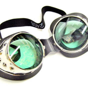 Burning Man metal goggles goggle set pair green & tinted lenses UV400 Cosplay
