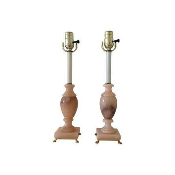 Pre-owned Italian 1940s Alabaster Urn Lamps - A Pair