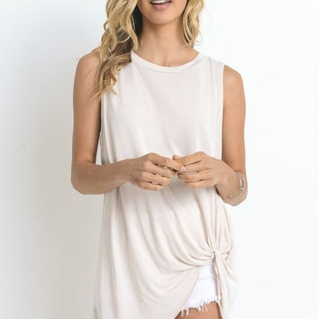 Sleeveless Twist Top - Ivory