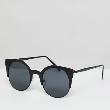 ASOS Half Kitten Cat Eye Metal Sunglasses In Matt Black at asos.com