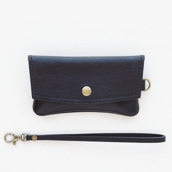 Leather Iphone Wristlet and Wallet Combination, Cell Phone Wristlet and Wallet, Cell Phone Pouch