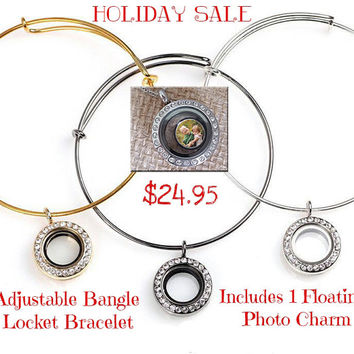 Personalized Locket Bracelet /Adjustable Alex and Ani Bracelet / Origami Owl Charm Bracelet /Floating Locket /Floating Charms / Unique gifts