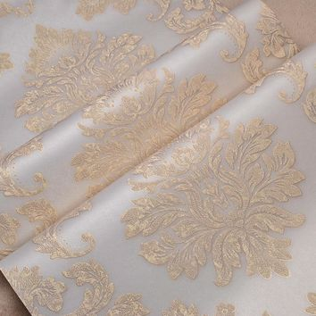 Relief Metallic Gold Texture Damask Wallpaper Luxury Wall Paper Classic 3d Stereo Wallpaper for Walls Roll