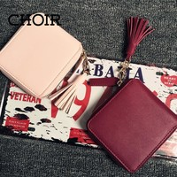 Women's Wallet  quality Square Coin Purses tassel