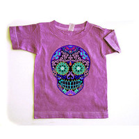 Kids purple skull shirt 2T 3T 4T Distressed shirt Halloween Sugar Skull toddler clothes Faded girl boy tshirt tee Day of the Dead