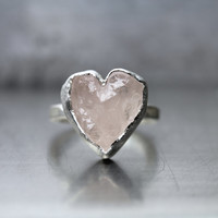 Rough Pale Pink Kunzite Heart Ring Silver Valentine Love Mountain - Herzberg
