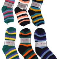 Cozy Socks 4-10 Lot of 6 Pairs Women Crew Kenneth Jones Fuzzy Warm Multi Color