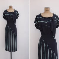 1940s Dress - Vintage 40s Silk Black & Mint Dress - Teresa Dress