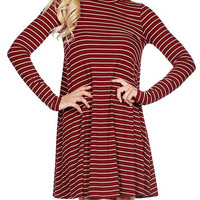 Mock Turtleneck Stripes Knit Ribbed Dress- Burgundy