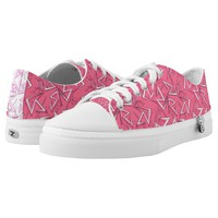 White and Black Zigzags on Pink Low-Top Sneakers