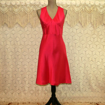 Sleeveless Silk Dress Petite Size 6 Empire Waist Midi Dark Pink Fuchsia Raspberry V Neck Matte Satin Small Medium Ann Taylor Womens Clothing