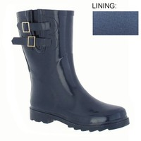Capelli New York Double Buckle & Contrasting Zipper Shaft Ladies Short Sporty Body Rubber Rain Boot