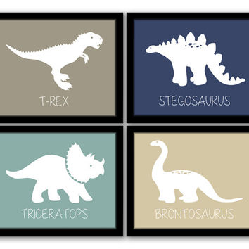 Dinosaur Wall Art, Set of 4, Nursery Art, Kids Art, Boys Room, Dinosaur Art, Playroom, Printable Wall Art, Modern Baby Art, INSTANT DOWNLOAD