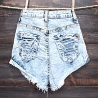 high waisted distressed shredded cuffed denim shorts - acid wash