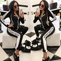 BALENCIAGA Popular Women Casual Long Sleeve Hoodie Zipper Jacket Coat Top Pants Set Two-Piece Sportswear Black