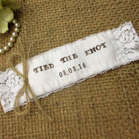 TIED THE KNOT-Rustic Wedding Garter,Country Chic Keepsake Garter, Wedding Accessories