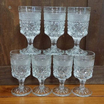 Vintage Mid Century Footed Pressed Glass Small Goblet Set of 7 Wexford by Anchor Hocking Perfect for Drinks Desserts Photo Props
