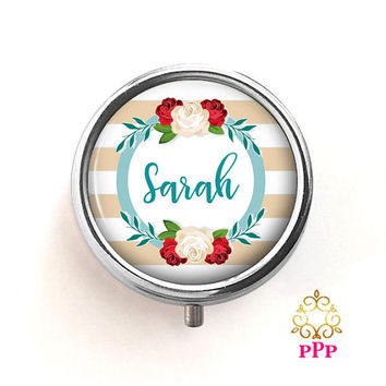 Personalized Pill Box | Personalized Pill Case Gift | Beige Strip Floral Pill Box | Style 750