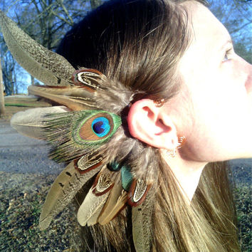 Feather EaR cuff, brown feather ear cuff, Natural feather, feather earring, Statement Jewelery, Native american style, Indian , peacock