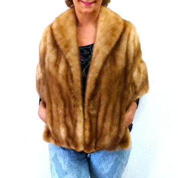 1950s Mink Stole Honey Brown Vintage 50s Old Hollywood Mink Fur Shawl Cape Coat Wrap