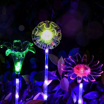 Outdoor Solar Garden Lights - 3 Pack Solar Powered Garden Stake Lights with a Purple LED Light Stake, Multi-color Changing LED Solar Stake Lights for Garden,Patio,Backyard (Dandelion,Lily,Sunflower)