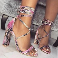 Snake Print Women Fashion Peep Toe Sandals High Heels Shoes